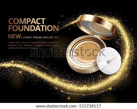 Attractive compact foundation ads, 3d illustration foundation product with glittering sequins or dust in the air
