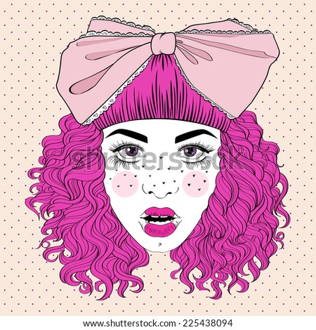 Attractive fashionable girl with curly pink hair and big bow on her head - stock vector