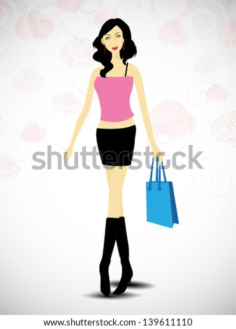 Attractive fashionable girl with shopping bag . - stock vector