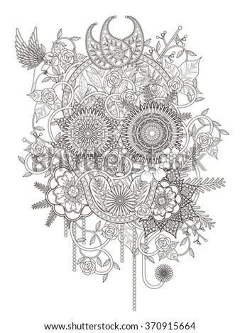 attractive floral coloring page with skull symbol - stock vector
