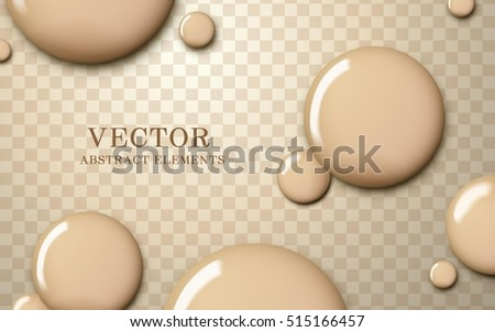 Attractive foundation texture, glossy skin tone liquid drop on transparent background, 3d illustration