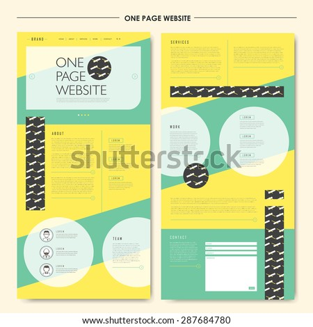 attractive geometric one page website design template in flat style  - stock vector
