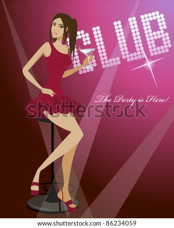 Attractive girl sitting on the stool with glass of cocktail. Vector illustration. - stock vector