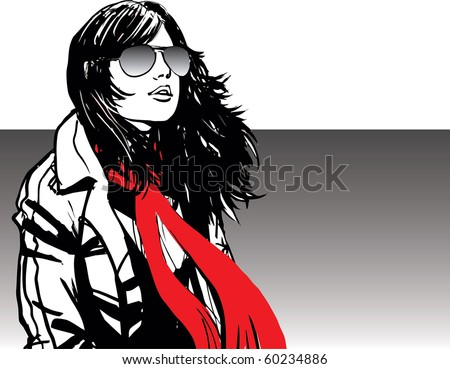 Attractive girl wearing red scarf and sunglasses in windy day - stock vector