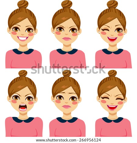 Attractive light brown haired young hipster woman on six different face expression set - stock vector