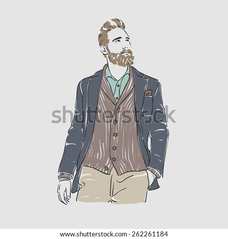 Attractive man in fashionable clothes hand draw vector illustration - stock vector