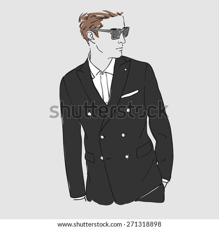 Attractive man with glasses in fashion black suit. Hand draw vector illustration. Isolated. - stock vector
