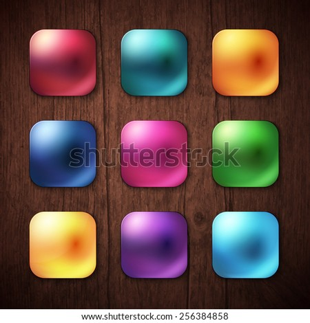 Attractive Nine Shiny Colorful Square Buttons on Brown Wooden Background. Vector illustration. - stock vector