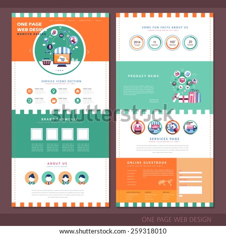 attractive one page website design template with online shopping elements - stock vector