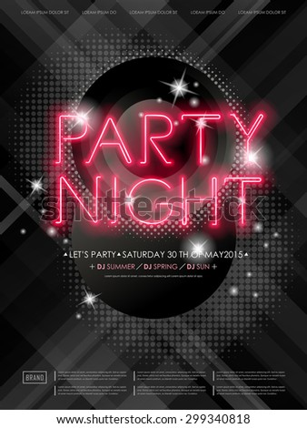 attractive party night poster design with neon light elements - stock vector