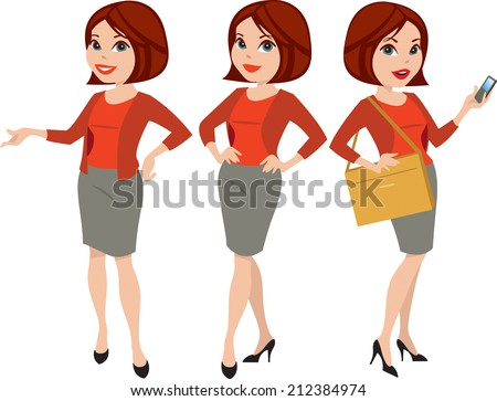 Attractive professional woman in three poses with different facial expressions, vector illustration - stock vector