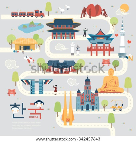 attractive South Korea travel map in flat style - Korea in Korean words on lower left