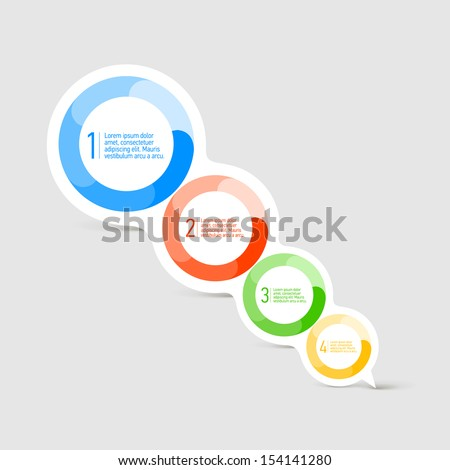 Attractive Speech bubble with four round color shapes for text placement  - stock vector