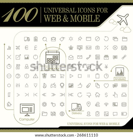 attractive 100 universal icons set for website and mobile - stock vector