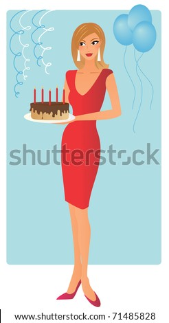 Attractive woman at birthday party with a cake