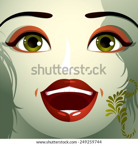 Attractive woman with stylish bright make-up and contemporary hairstyle. Sexy Caucasian happy lady. Decorative portrait. - stock vector