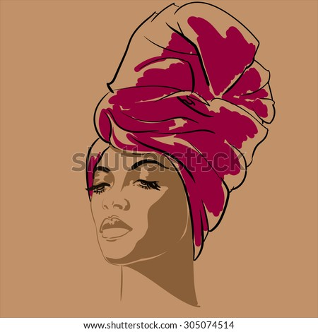 Attractive young African-american fashion model. Portrait of beautiful African woman.  Vector illustration. Vector portrait of beautiful African American woman in line art style. Side view. - stock vector