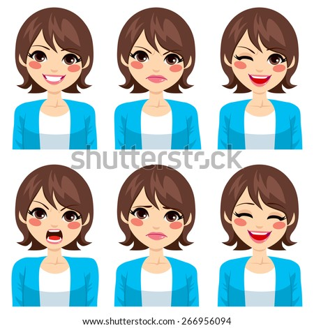 Attractive young brunette woman on six different face expressions set - stock vector