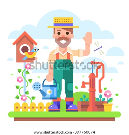 Attractive young gardener with a watering can in overalls stands in a garden on a background of flowers and shrubs near the old water pump.  Modern vector character in flat design. - stock vector