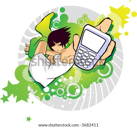 Attractive young girl with Mobile vector illustration series - mobile phone on a graphic background. - stock vector