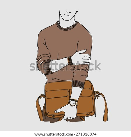 Attractive young man in fashion clothes with bag and watches. Vector hand draw illustration. Isolated. - stock vector