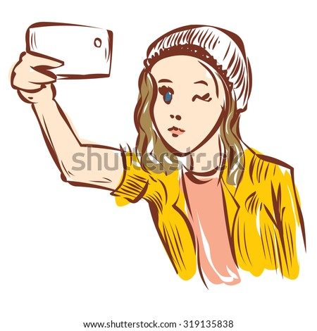 Attractive young woman trying to make a self portrait with mobile device in hand. Hand drawn cartoon vector illustration.