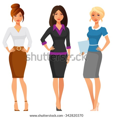 attractive young women in elegant office clothes - stock vector