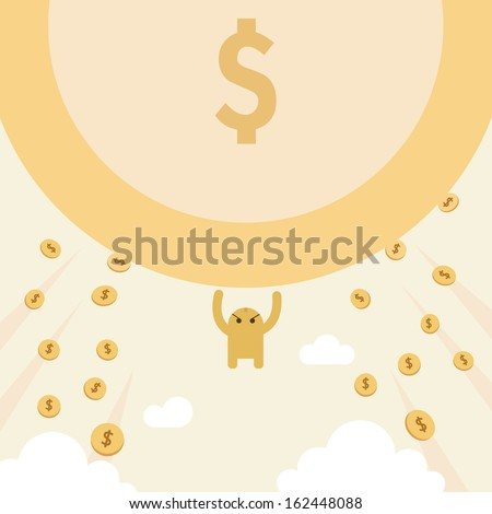 Attracts money with mysterious power. donation, marketing, business concept. Many Small is Big. - stock vector