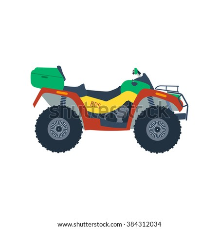Atv moto vector illustration isolated on white background. Motor cross bike