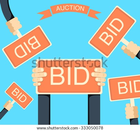 Auction and bidding banner with hands holding bords flat isolated vector illustration. Bid sign in hand of people.  - stock vector