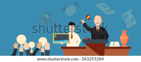 Auction and bidding horizontal banner with hands flat isolated vector illustration. - stock vector