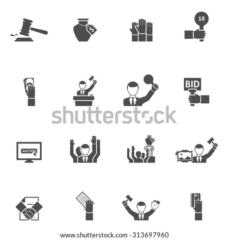Auction black white icons set with bids internet vase and painting flat isolated vector illustration  - stock vector