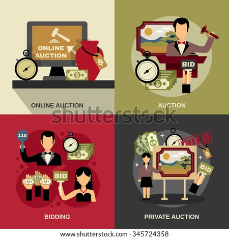 Auction concept icons set with art and bidding symbols flat isolated vector illustration  - stock vector