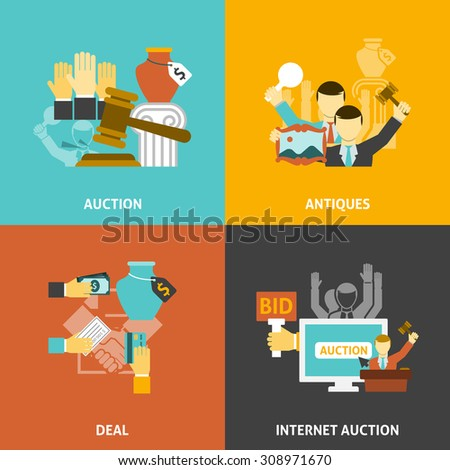 Auction deal icons set with antiques and internet bidding flat isolated vector illustration  - stock vector