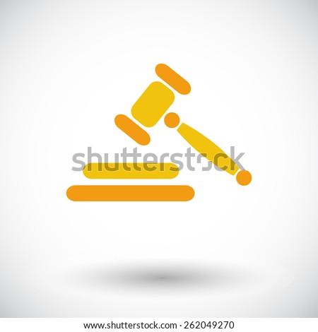 Auction gavel. Single flat icon on white background. Vector illustration. - stock vector