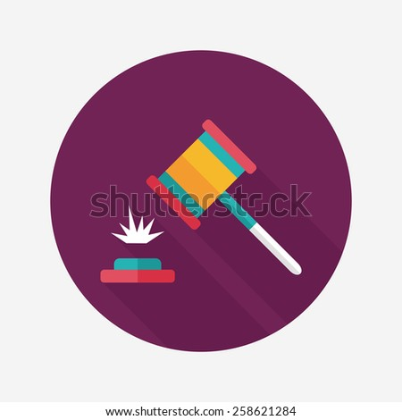 auction hammer flat icon with long shadow,eps10 - stock vector