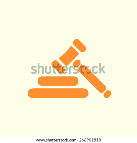 Auction hammer symbol. Law judge gavel icon. Flat design style. - stock vector