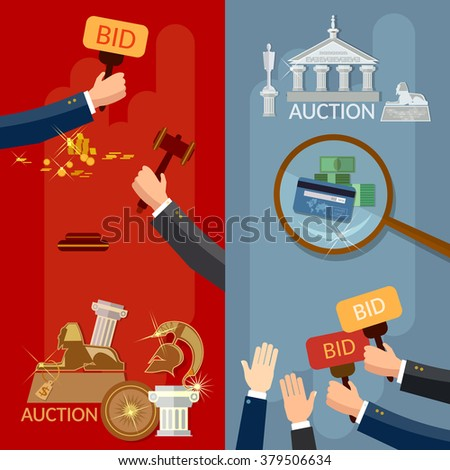 Auction vector banners - stock vector
