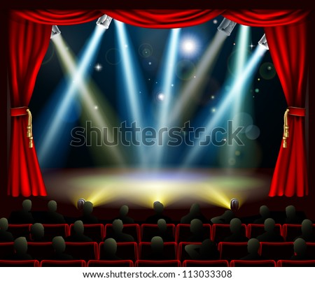 Audience in silhouette watching stage with stage spotlights light show - stock vector