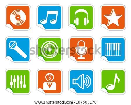 Audio and Music icons on stickers - stock vector