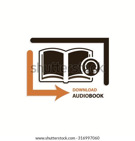 Audio book download icon concept design logo art - stock vector