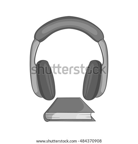 Audio book icon in black monochrome style isolated on white background. Reading and listen symbol vector illustration