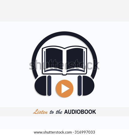 Audio book icon with book and headphones signs and text listen to the audio book dark blue color design art
