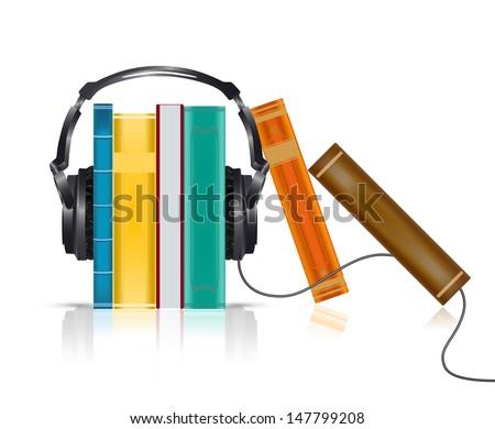 audio books concept with headphones - stock vector