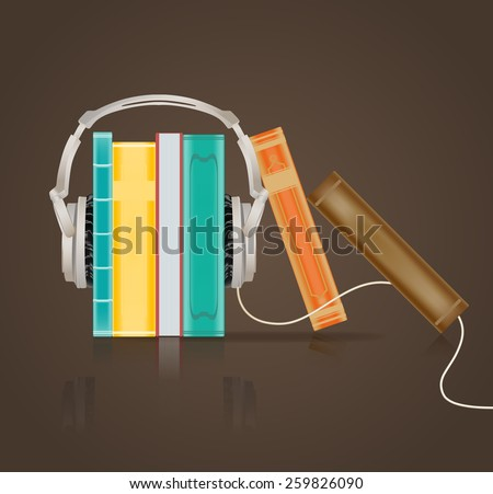 audio books concept with headphones on brown - stock vector