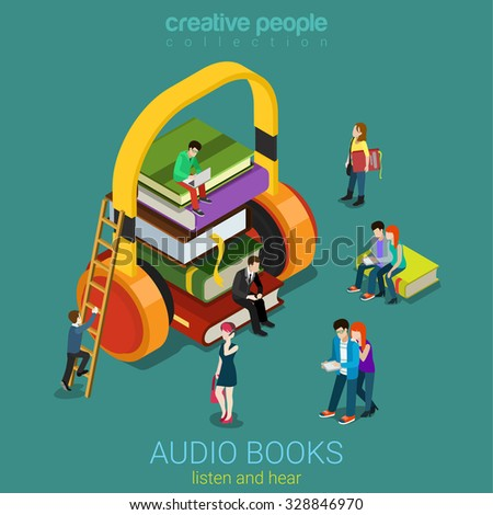 Audio books flat 3d isometric electronic library concept. Micro people on pile of books listening to the huge headphones. Creative people collection. - stock vector