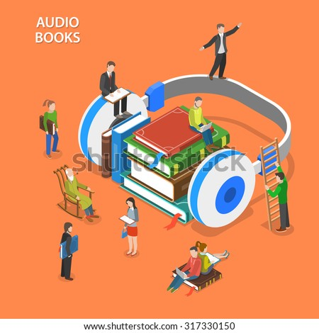 Audio books listening isometric flat vector concept. Pile of books and earphones are laying on the floor and people around them are reading and listening books. - stock vector