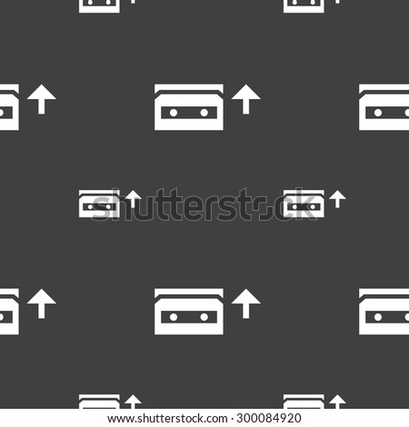 audio cassette icon sign. Seamless pattern on a gray background. Vector illustration - stock vector