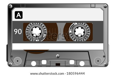 Audio cassette, retro style, a side, black and white. Grayscale, with a space to write your text. vector art image eps10, isolated on white background