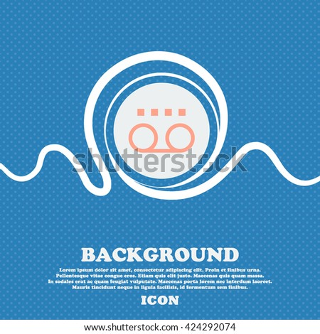 audio cassette sign icon. Blue and white abstract background flecked with space for text and your design. Vector illustration - stock vector